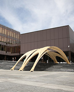 In collaboration with the Chair of Structural Design at the ETH in Zurich, a temporary light timber construction was designed that functions as sun shading for parts of the grand stairs in front of the ETH architecture department.More...